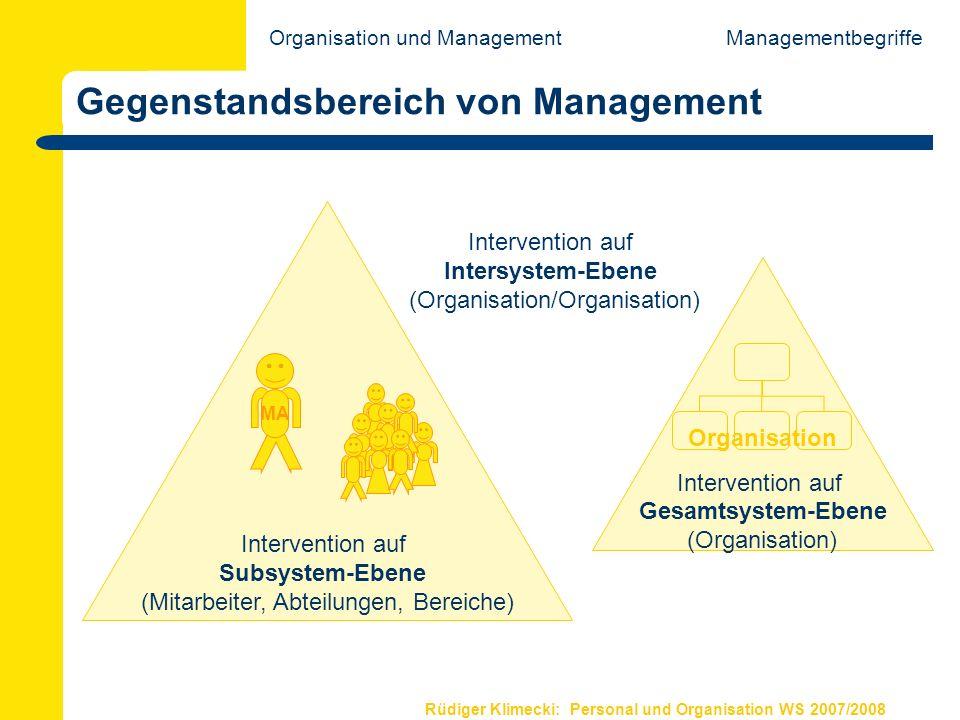 Rüdiger Klimecki: Personal und Organisation WS 2007/2008 Gegenstandsbereich von Management Managementbegriffe Intervention auf Subsystem-Ebene (Mitarb