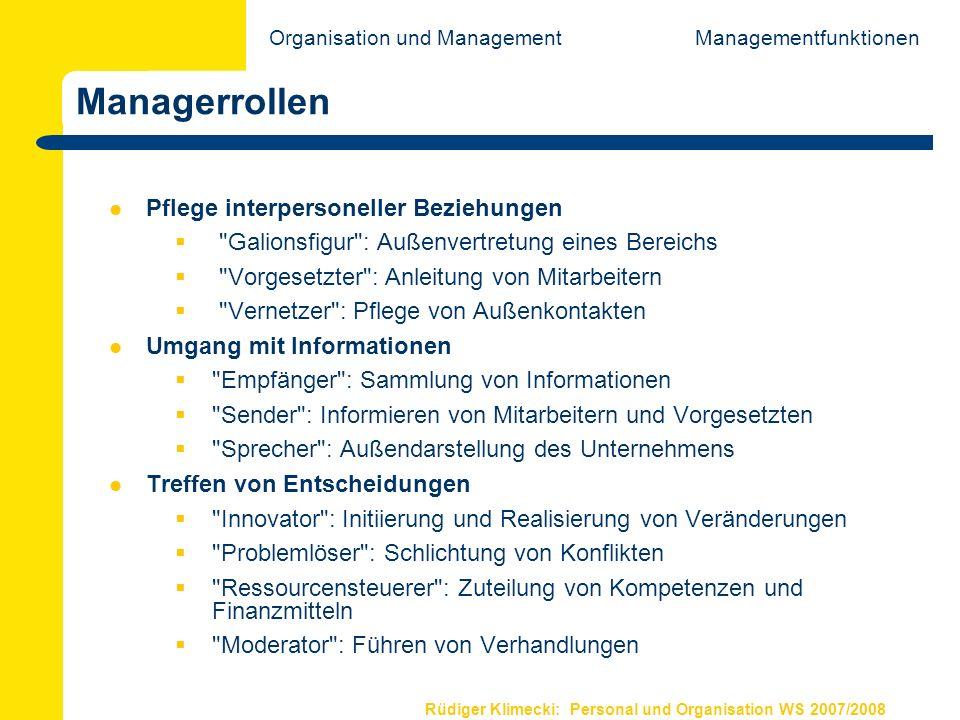 Rüdiger Klimecki: Personal und Organisation WS 2007/2008 Managerrollen Pflege interpersoneller Beziehungen