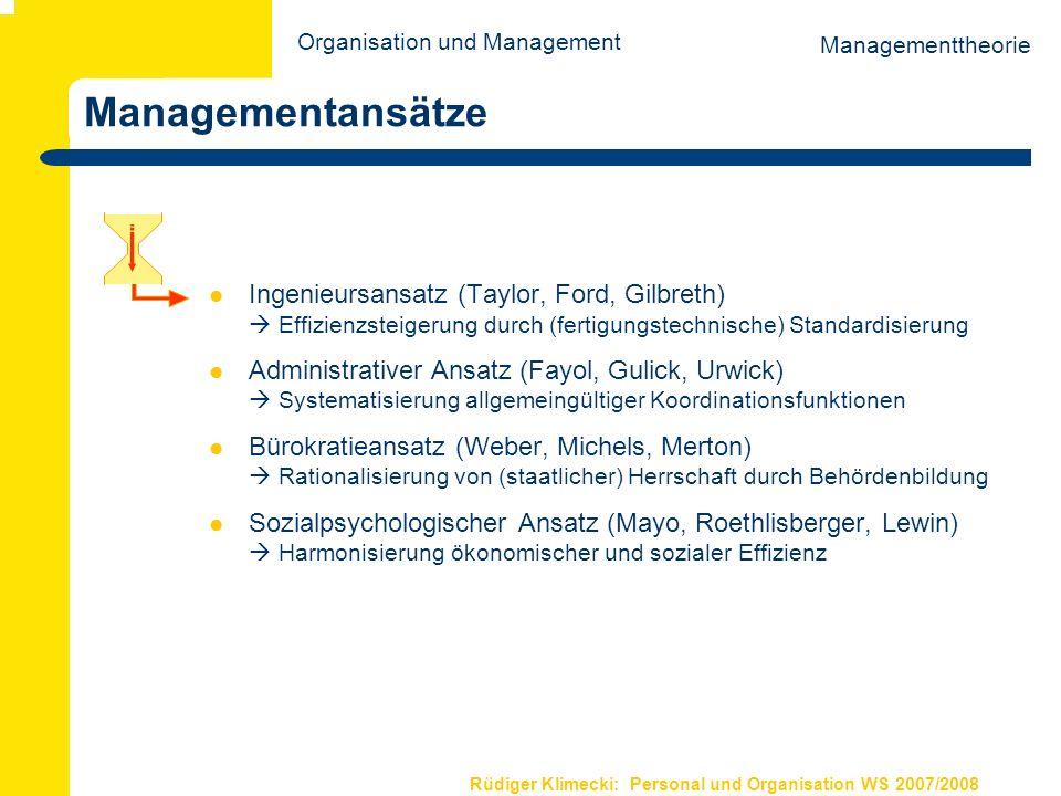 Rüdiger Klimecki: Personal und Organisation WS 2007/2008 Managementansätze Ingenieursansatz (Taylor, Ford, Gilbreth) Effizienzsteigerung durch (fertig