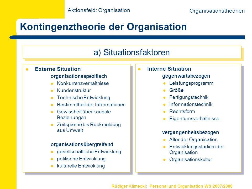 Rüdiger Klimecki: Personal und Organisation WS 2007/2008 Kontingenztheorie der Organisation Externe Situation organisationsspezifisch Konkurrenzverhäl