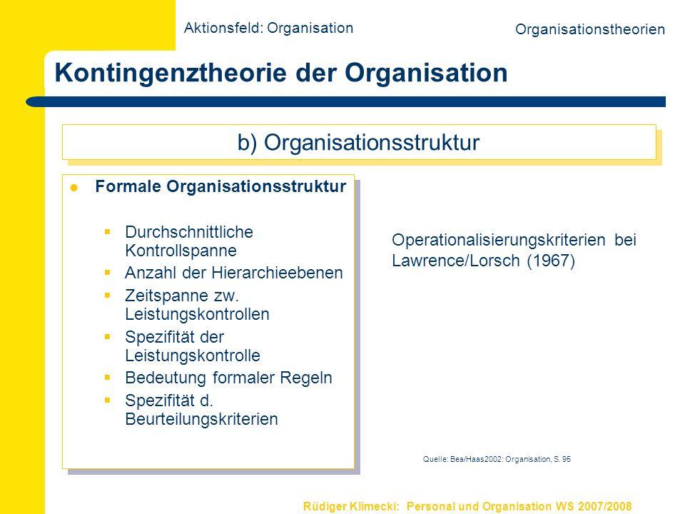 Rüdiger Klimecki: Personal und Organisation WS 2007/2008 Kontingenztheorie der Organisation Formale Organisationsstruktur Durchschnittliche Kontrollsp