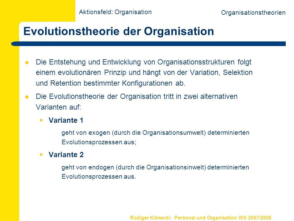Rüdiger Klimecki: Personal und Organisation WS 2007/2008 Evolutionstheorie der Organisation Die Entstehung und Entwicklung von Organisationsstrukturen