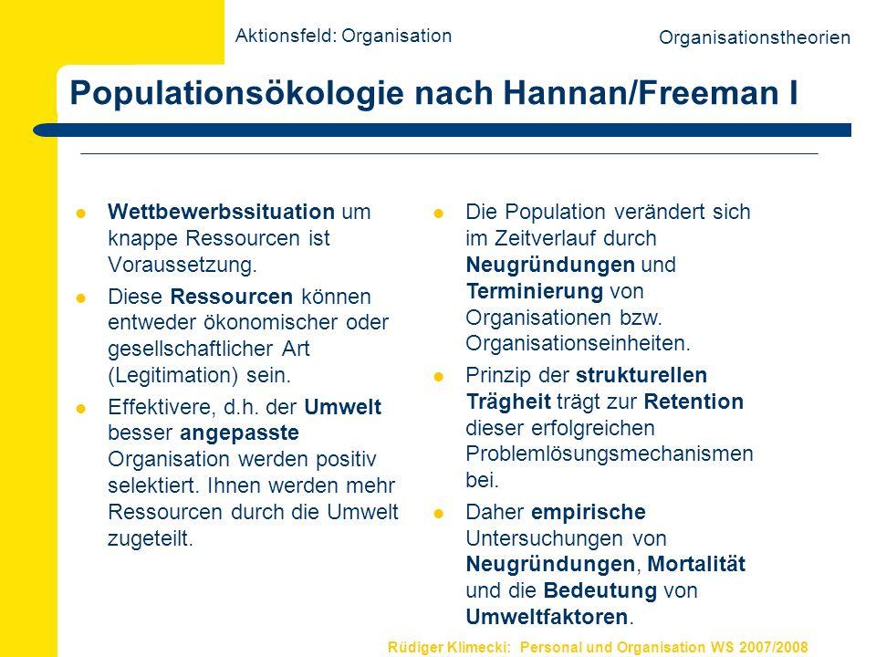 Rüdiger Klimecki: Personal und Organisation WS 2007/2008 Populationsökologie nach Hannan/Freeman I Wettbewerbssituation um knappe Ressourcen ist Vorau