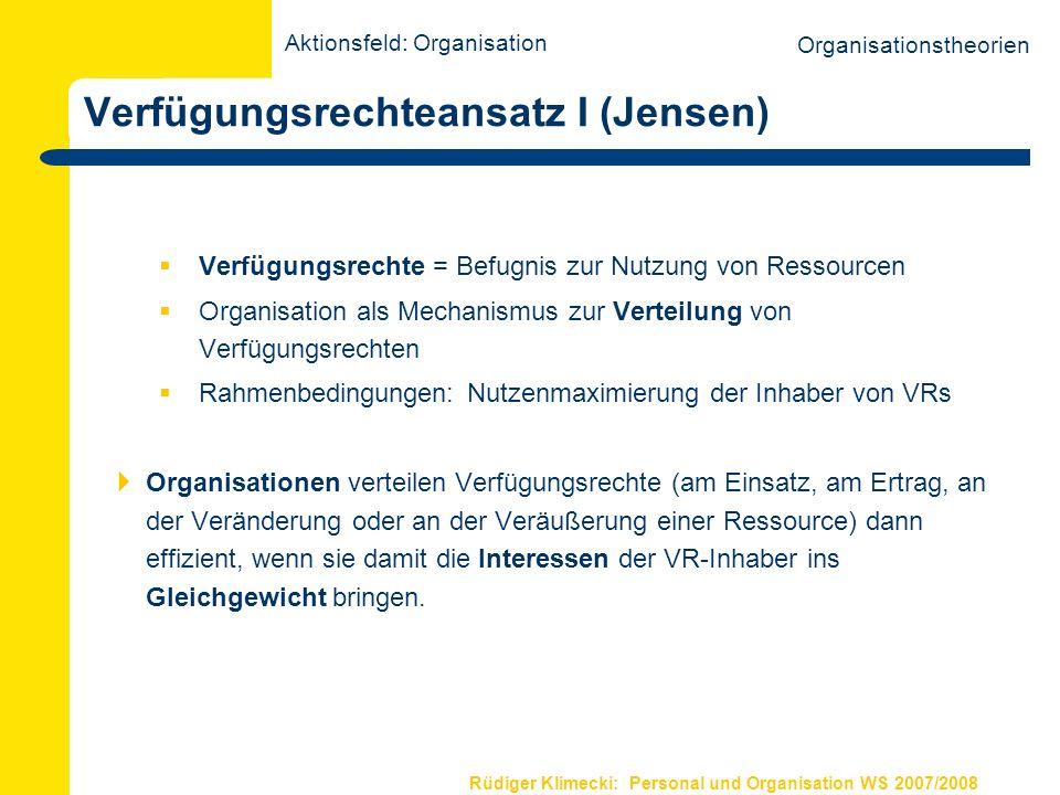 Rüdiger Klimecki: Personal und Organisation WS 2007/2008 Verfügungsrechteansatz I (Jensen) Verfügungsrechte = Befugnis zur Nutzung von Ressourcen Orga