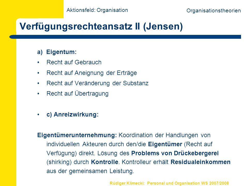 Rüdiger Klimecki: Personal und Organisation WS 2007/2008 Verfügungsrechteansatz II (Jensen) a) Eigentum: Recht auf Gebrauch Recht auf Aneignung der Er
