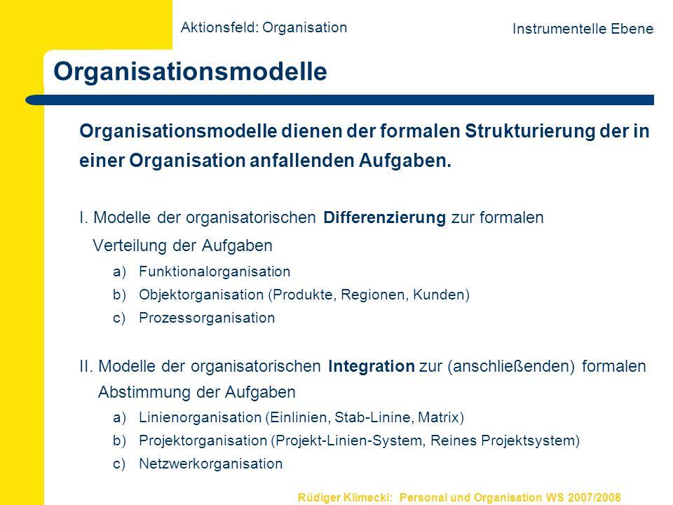 Rüdiger Klimecki: Personal und Organisation WS 2007/2008 Organisationsmodelle Organisationsmodelle dienen der formalen Strukturierung der in einer Org