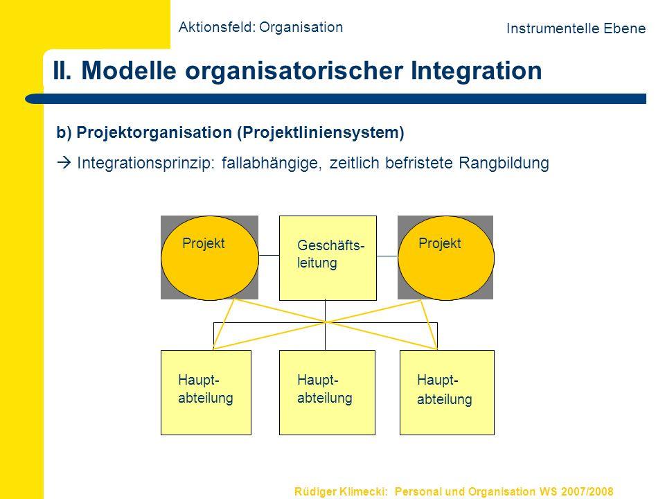 Rüdiger Klimecki: Personal und Organisation WS 2007/2008 II. Modelle organisatorischer Integration b) Projektorganisation (Projektliniensystem) Integr