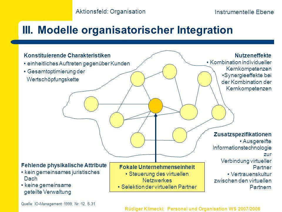 Rüdiger Klimecki: Personal und Organisation WS 2007/2008 III. Modelle organisatorischer Integration Konstituierende Charakteristiken einheitliches Auf