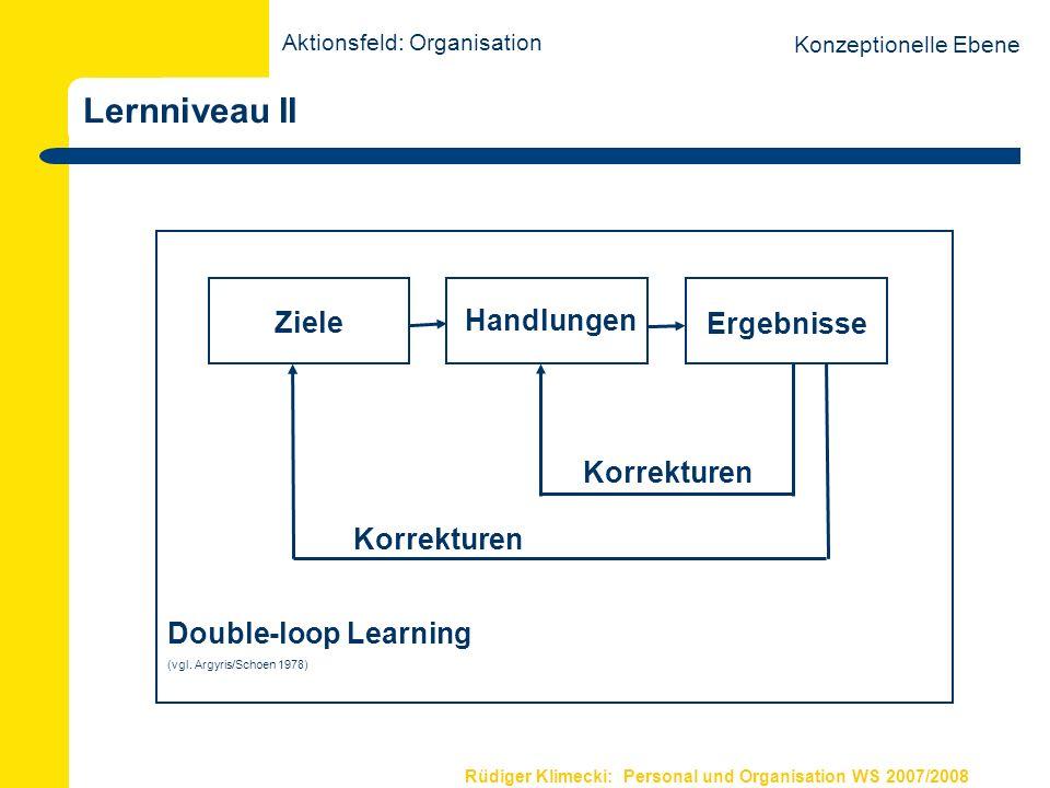 Rüdiger Klimecki: Personal und Organisation WS 2007/2008 Lernniveau II Double-loop Learning (vgl. Argyris/Schoen 1978) Ziele Handlungen Ergebnisse Kor