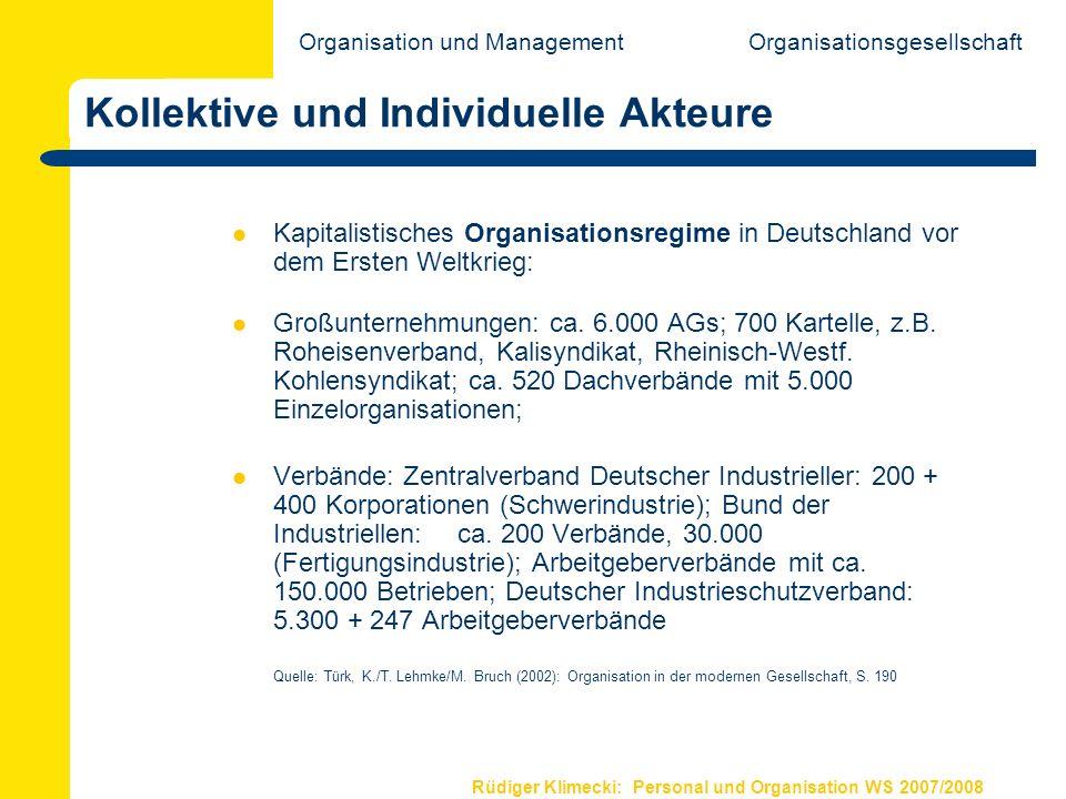 Rüdiger Klimecki: Personal und Organisation WS 2007/2008 Kollektive und Individuelle Akteure Kapitalistisches Organisationsregime in Deutschland vor d
