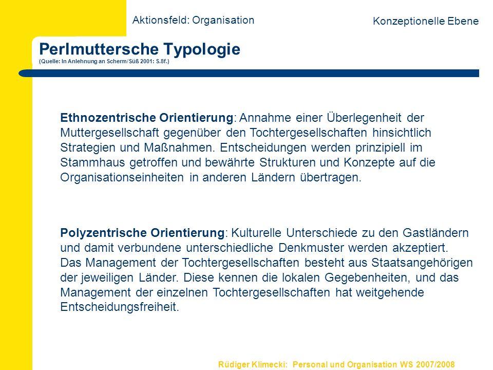 Rüdiger Klimecki: Personal und Organisation WS 2007/2008 Perlmuttersche Typologie (Quelle: In Anlehnung an Scherm/Süß 2001: S.8f.) Aktionsfeld: Organi