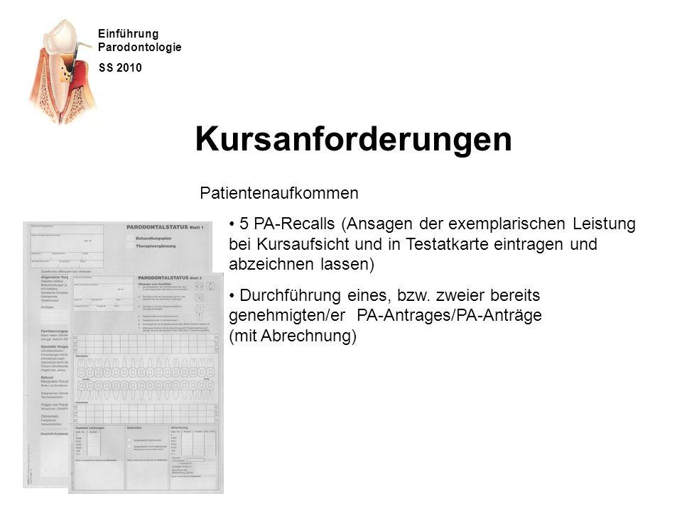 Einführung Parodontologie SS 2010 Themen Kursanforderungen Patientenaufkommen Alltag Kursorganisation Allgemein eigene OP-Kurs PA- Falldokumentation PA-Vorlesung