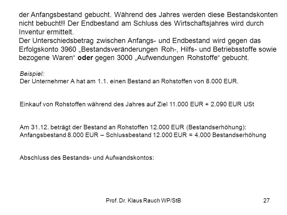 Prof.Dr. Klaus Rauch WP/StB27 der Anfangsbestand gebucht.