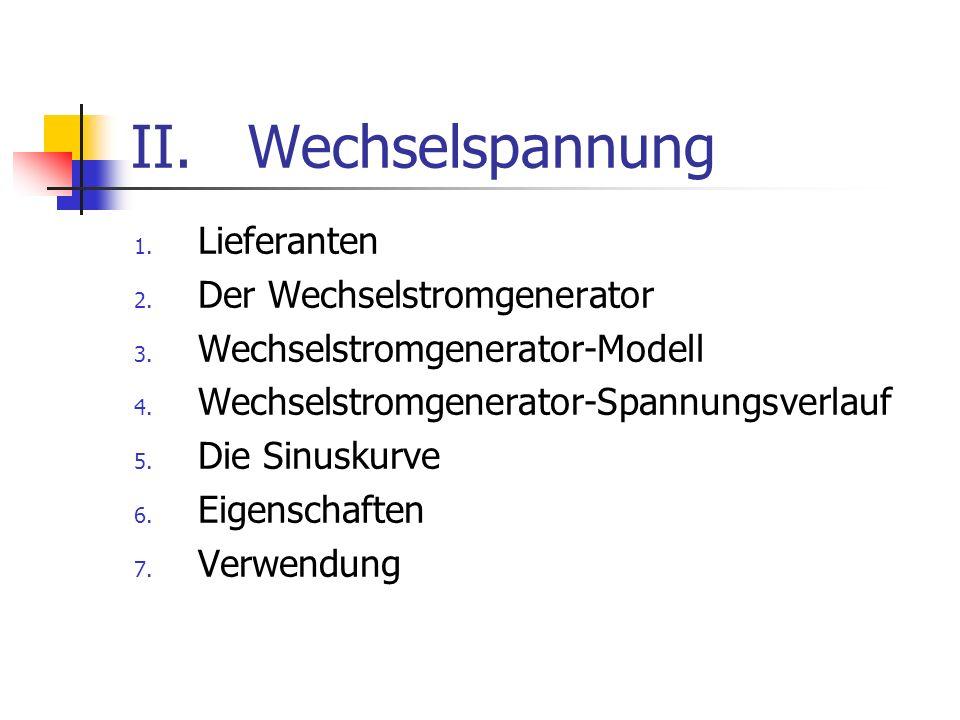 II.Wechselspannung 1.Lieferanten 2. Der Wechselstromgenerator 3.