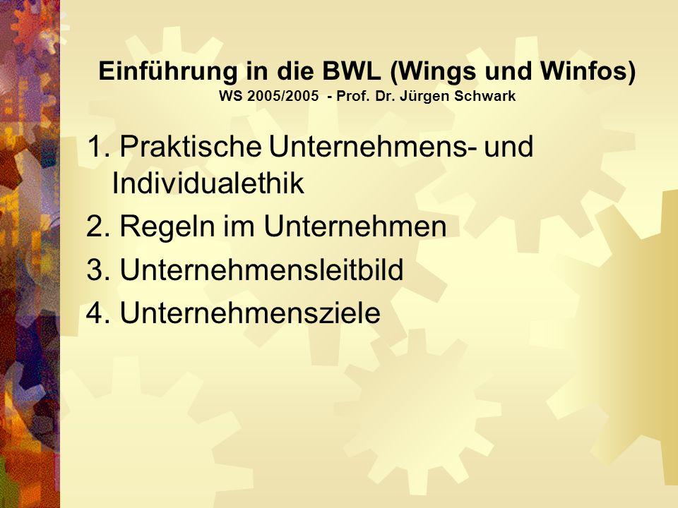 Einführung in die BWL (Wings und Winfos) WS 2005/2005 - Prof.