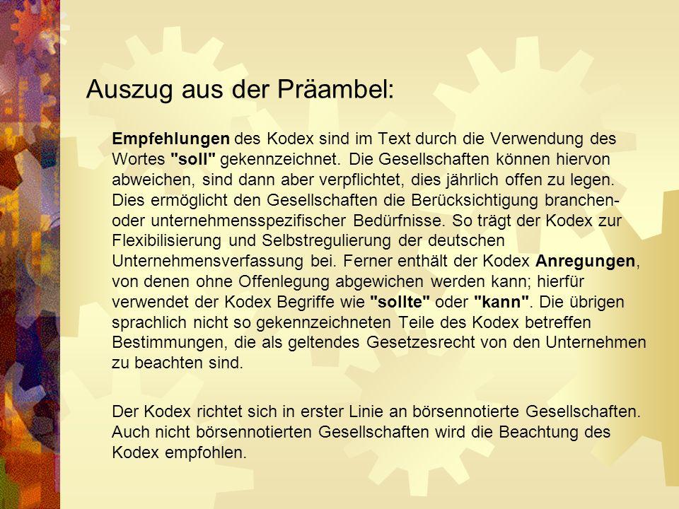 Bsp.: Deutscher Corporate Governance - Kodex 1.