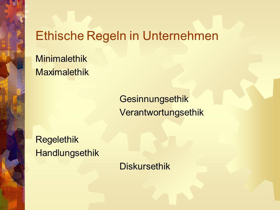 Ethik – Wirtschaftsethik - Unternehmensethik Für wen sind die jeweiligen Regeln gültig.