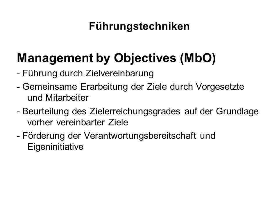 Führungstechniken Management by Objectives (MbO) - Führung durch Zielvereinbarung - Gemeinsame Erarbeitung der Ziele durch Vorgesetzte und Mitarbeiter
