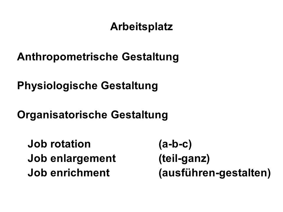 Arbeitsplatz Anthropometrische Gestaltung Physiologische Gestaltung Organisatorische Gestaltung Job rotation (a-b-c) Job enlargement (teil-ganz) Job e