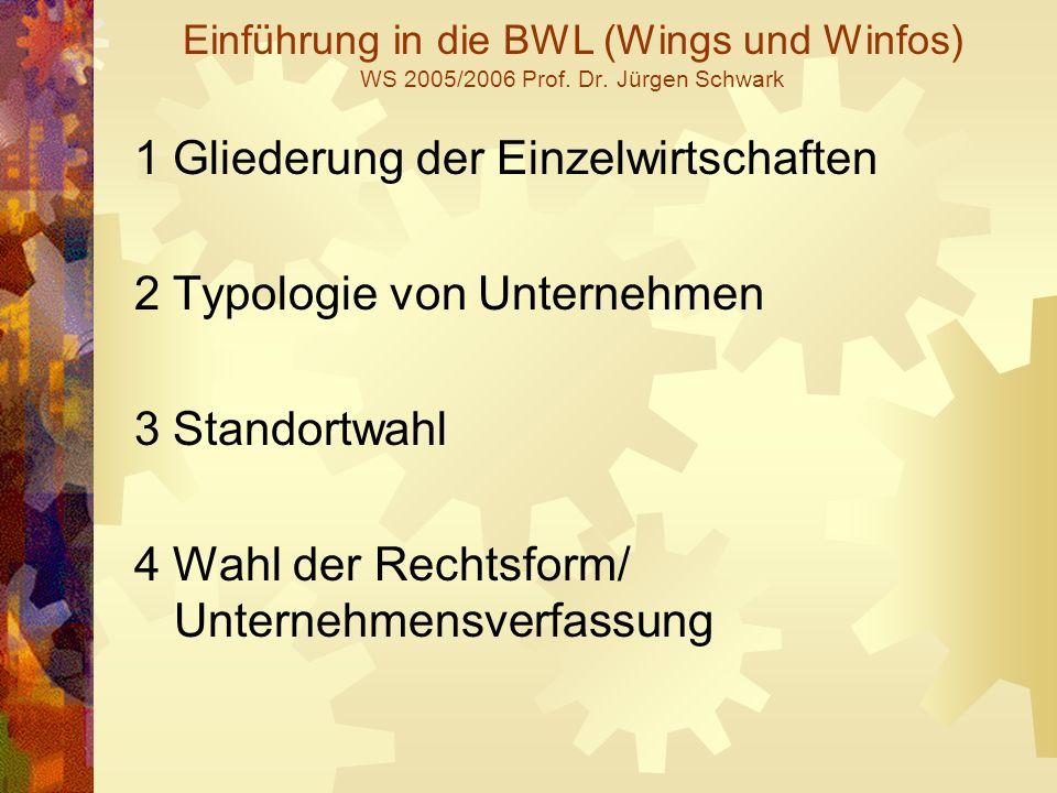 Einführung in die BWL (Wings und Winfos) WS 2005/2006 Prof. Dr. Jürgen Schwark 1 Gliederung der Einzelwirtschaften 2 Typologie von Unternehmen 3 Stand