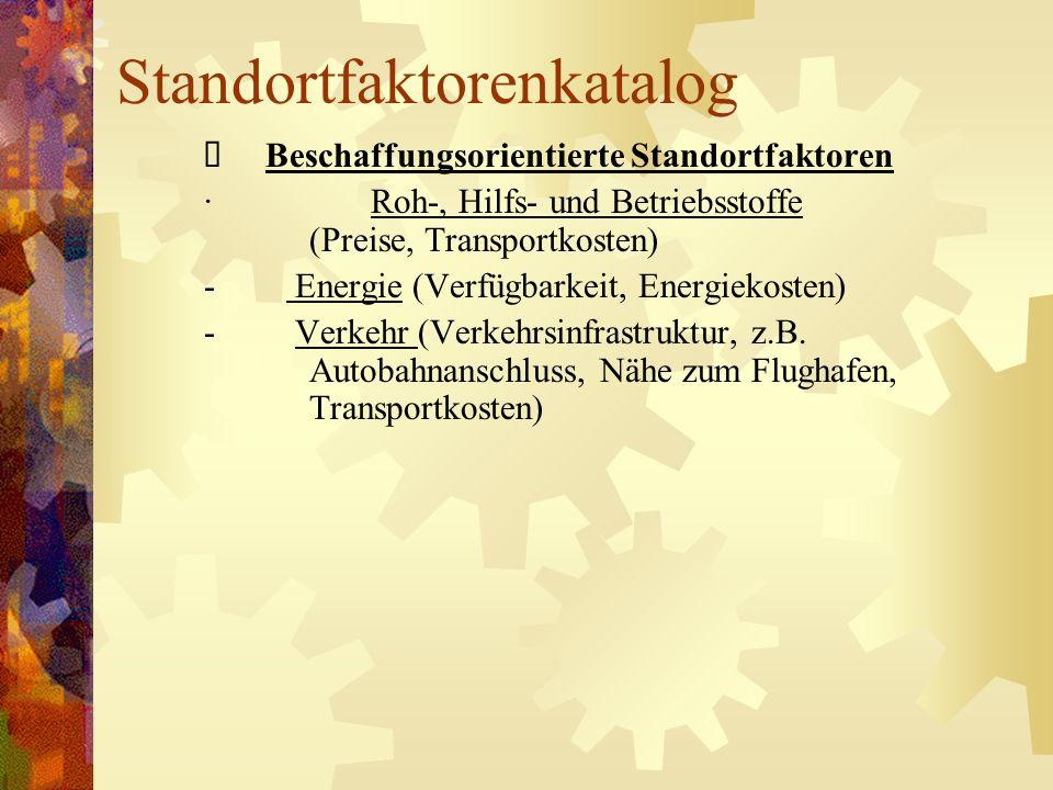 Standortfaktorenkatalog Beschaffungsorientierte Standortfaktoren · Roh-, Hilfs- und Betriebsstoffe (Preise, Transportkosten) - Energie (Verfügbarkeit,