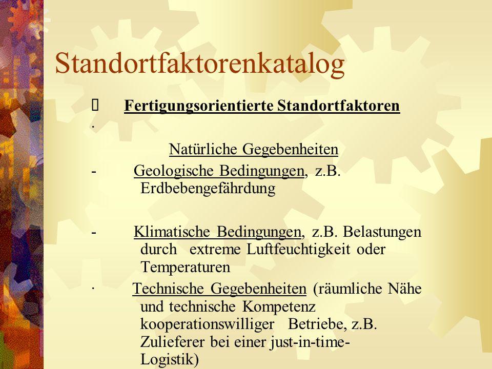 Standortfaktorenkatalog Fertigungsorientierte Standortfaktoren · Natürliche Gegebenheiten - Geologische Bedingungen, z.B. Erdbebengefährdung - Klimati
