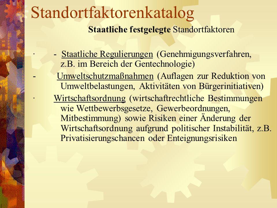 Standortfaktorenkatalog Staatliche festgelegte Standortfaktoren · - Staatliche Regulierungen (Genehmigungsverfahren, z.B. im Bereich der Gentechnologi