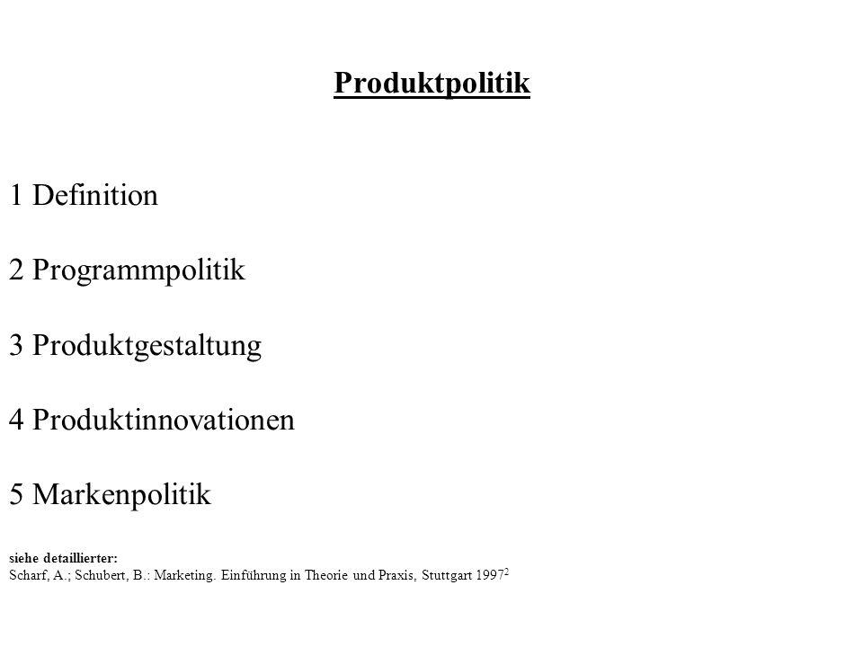 Produktpolitik 1 Definition 2 Programmpolitik 3 Produktgestaltung 4 Produktinnovationen 5 Markenpolitik siehe detaillierter: Scharf, A.; Schubert, B.: