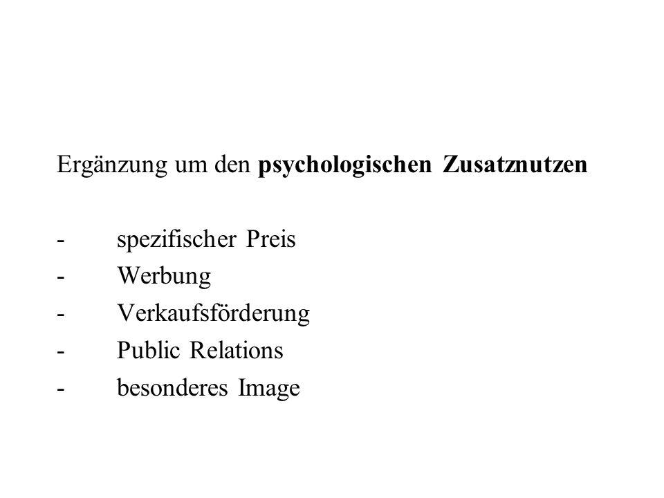 Ergänzung um den psychologischen Zusatznutzen - spezifischer Preis - Werbung - Verkaufsförderung - Public Relations - besonderes Image