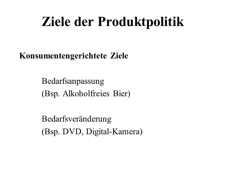 Ziele der Produktpolitik Konsumentengerichtete Ziele Bedarfsanpassung (Bsp. Alkoholfreies Bier) Bedarfsveränderung (Bsp. DVD, Digital-Kamera)