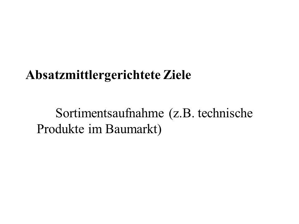Absatzmittlergerichtete Ziele Sortimentsaufnahme (z.B. technische Produkte im Baumarkt)