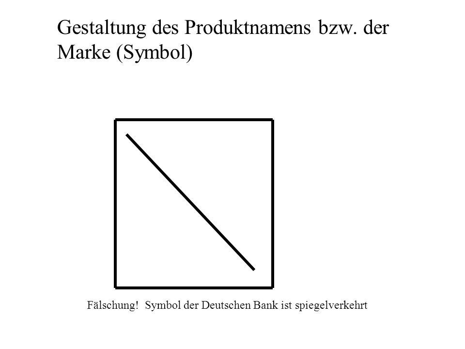 Gestaltung des Produktnamens bzw. der Marke (Symbol) Fälschung! Symbol der Deutschen Bank ist spiegelverkehrt