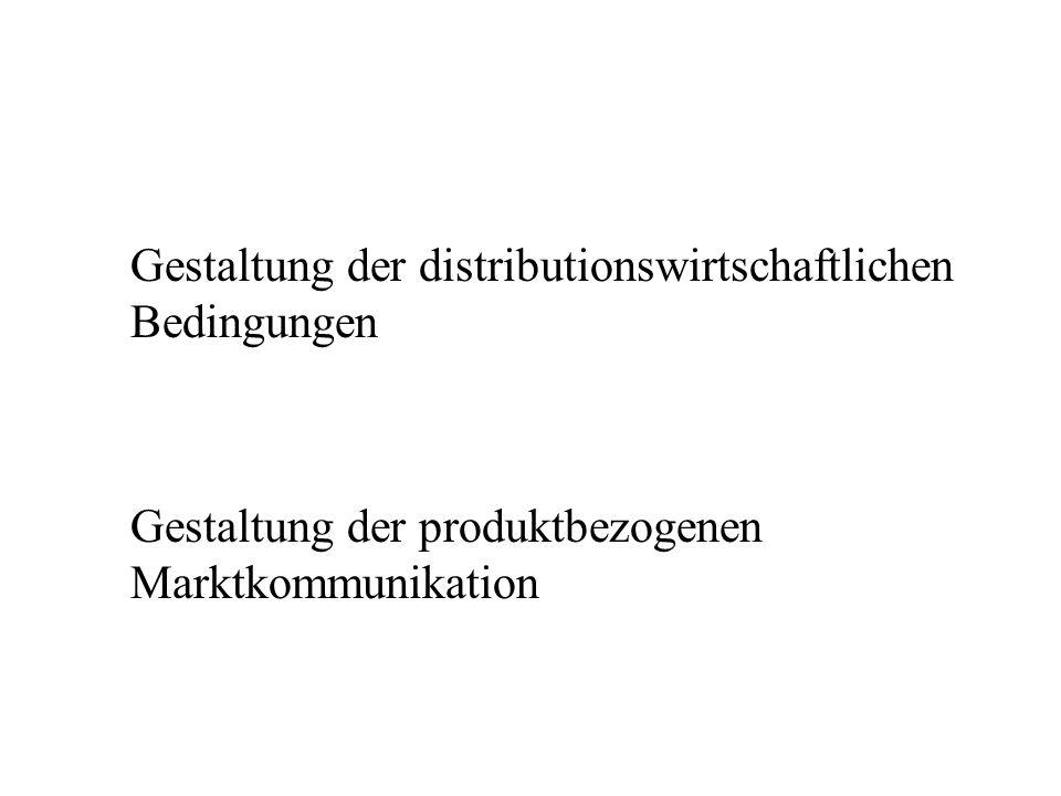 Gestaltung der distributionswirtschaftlichen Bedingungen Gestaltung der produktbezogenen Marktkommunikation