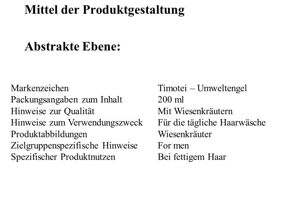 Mittel der Produktgestaltung Abstrakte Ebene: Markenzeichen Packungsangaben zum Inhalt Hinweise zur Qualität Hinweise zum Verwendungszweck Produktabbi