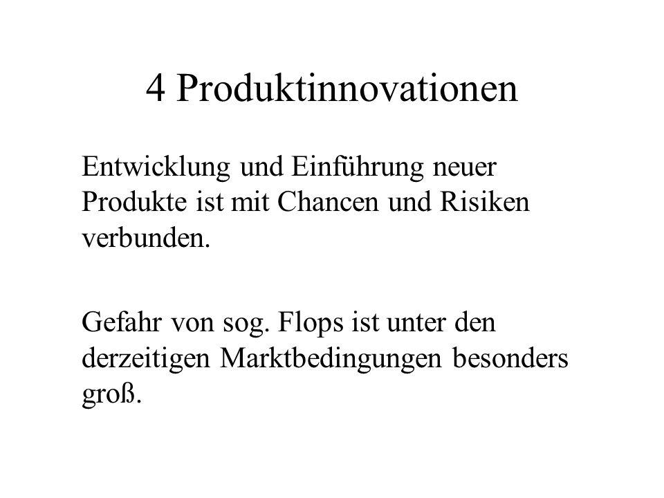 4 Produktinnovationen Entwicklung und Einführung neuer Produkte ist mit Chancen und Risiken verbunden. Gefahr von sog. Flops ist unter den derzeitigen