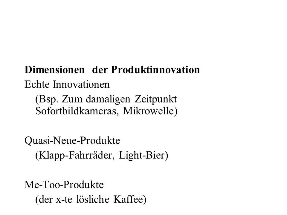 Dimensionen der Produktinnovation Echte Innovationen (Bsp. Zum damaligen Zeitpunkt Sofortbildkameras, Mikrowelle) Quasi-Neue-Produkte (Klapp-Fahrräder