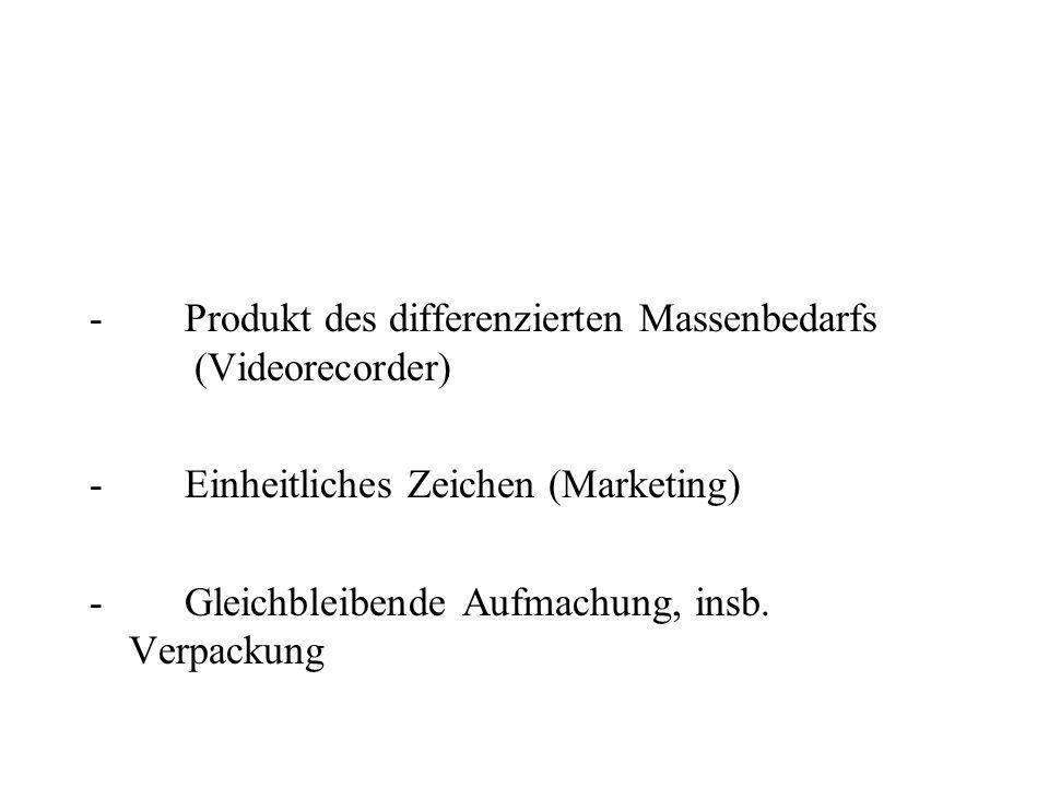 - Produkt des differenzierten Massenbedarfs (Videorecorder) - Einheitliches Zeichen (Marketing) - Gleichbleibende Aufmachung, insb. Verpackung