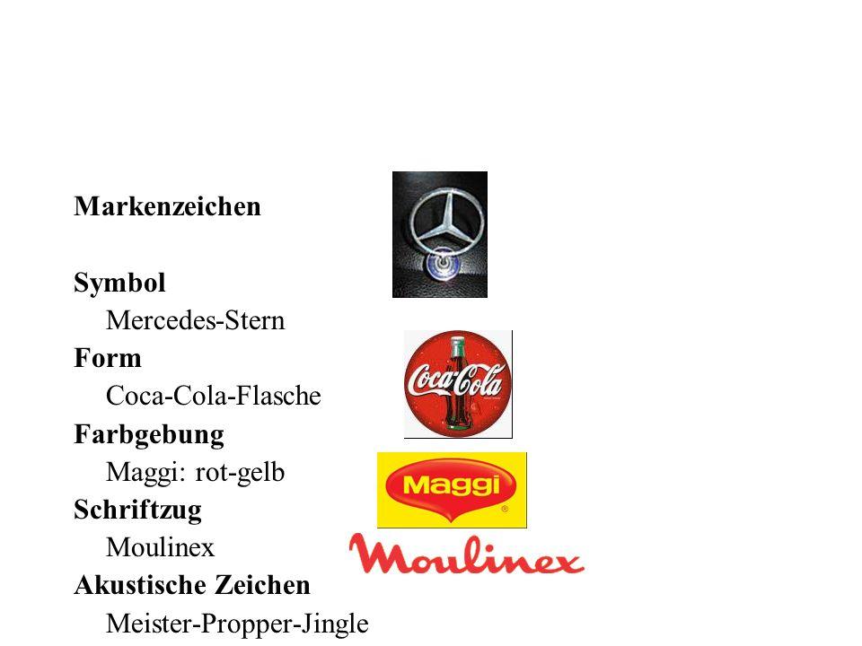 Markenzeichen Symbol Mercedes-Stern Form Coca-Cola-Flasche Farbgebung Maggi: rot-gelb Schriftzug Moulinex Akustische Zeichen Meister-Propper-Jingle