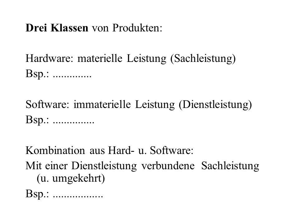 Drei Klassen von Produkten: Hardware: materielle Leistung (Sachleistung) Bsp.:.............. Software: immaterielle Leistung (Dienstleistung) Bsp.:...