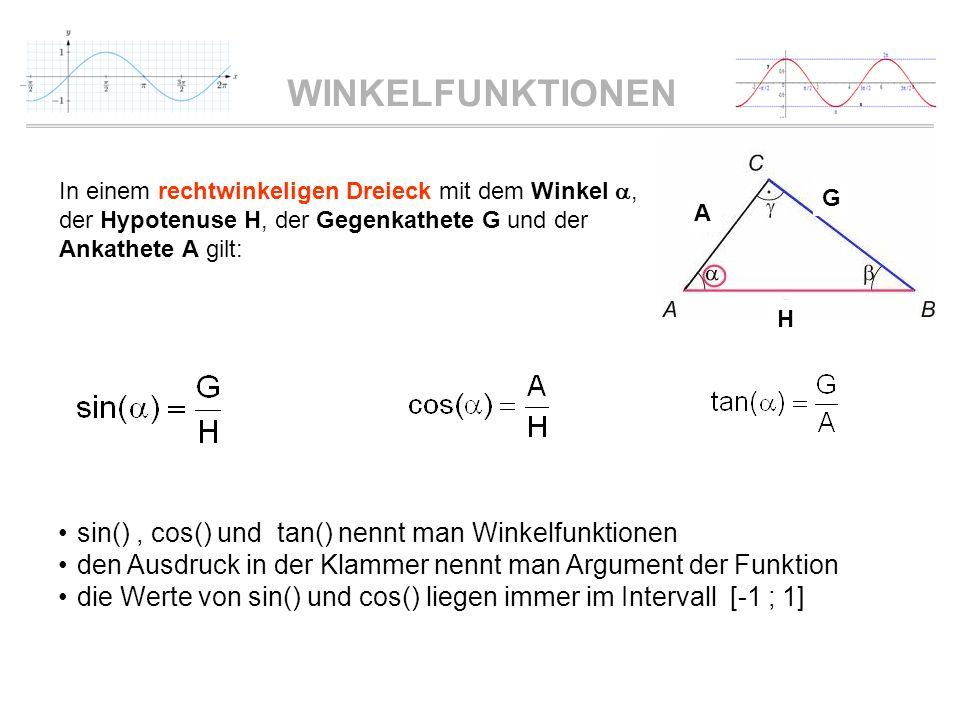 WINKELFUNKTIONEN In einem rechtwinkeligen Dreieck mit dem Winkel, der Hypotenuse H, der Gegenkathete G und der Ankathete A gilt: sin(), cos() und tan(