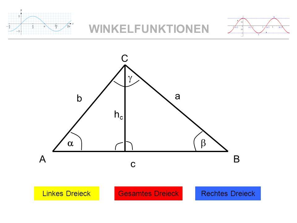 WINKELFUNKTIONEN c a b AB C hchc Linkes DreieckGesamtes DreieckRechtes Dreieck