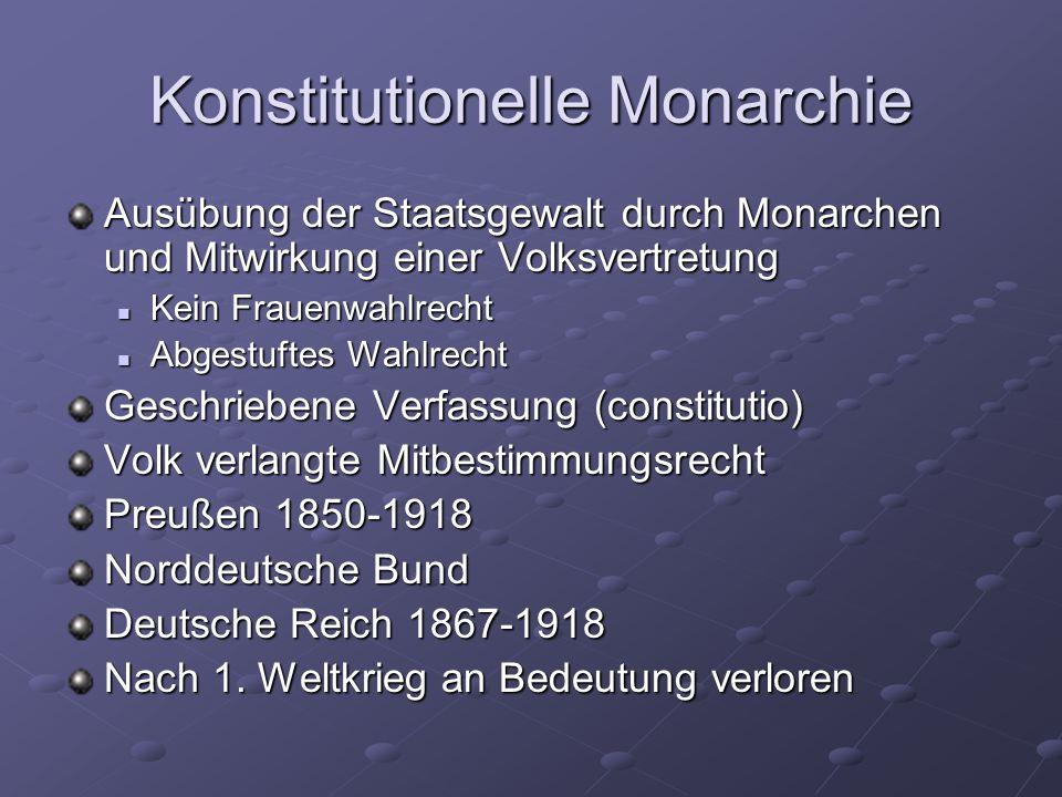 Konstitutionelle Monarchie Ausübung der Staatsgewalt durch Monarchen und Mitwirkung einer Volksvertretung Kein Frauenwahlrecht Kein Frauenwahlrecht Ab