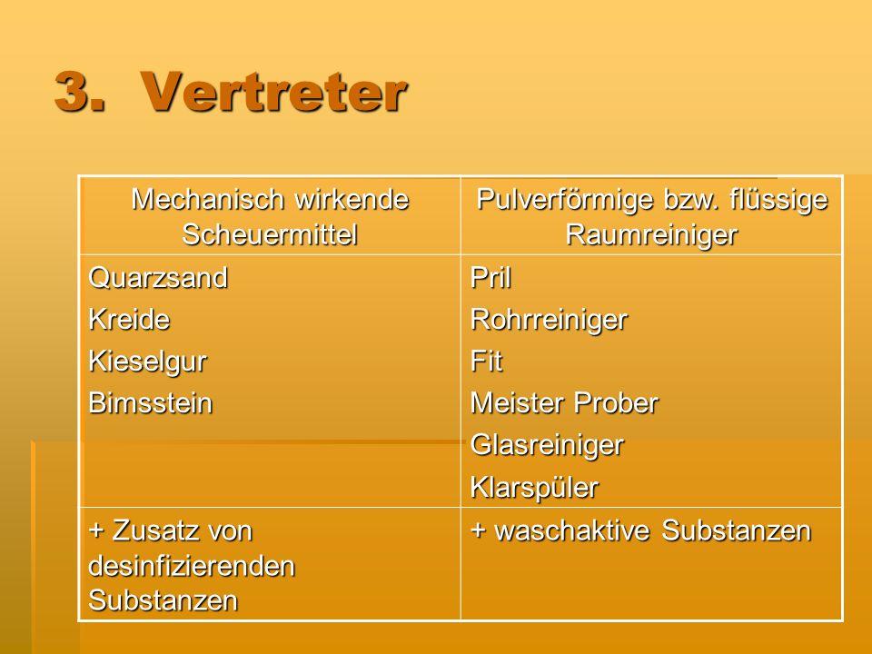 3.Vertreter Mechanisch wirkende Scheuermittel Pulverförmige bzw. flüssige Raumreiniger QuarzsandKreideKieselgurBimssteinPrilRohrreinigerFit Meister Pr