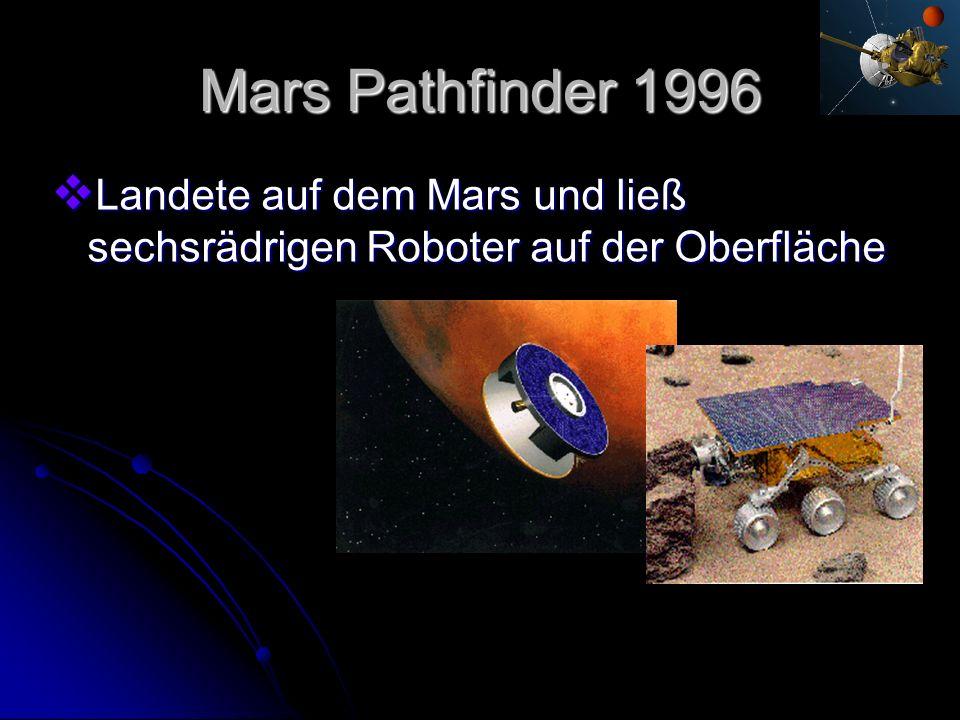 Mars Pathfinder 1996 Landete auf dem Mars und ließ sechsrädrigen Roboter auf der Oberfläche Landete auf dem Mars und ließ sechsrädrigen Roboter auf de