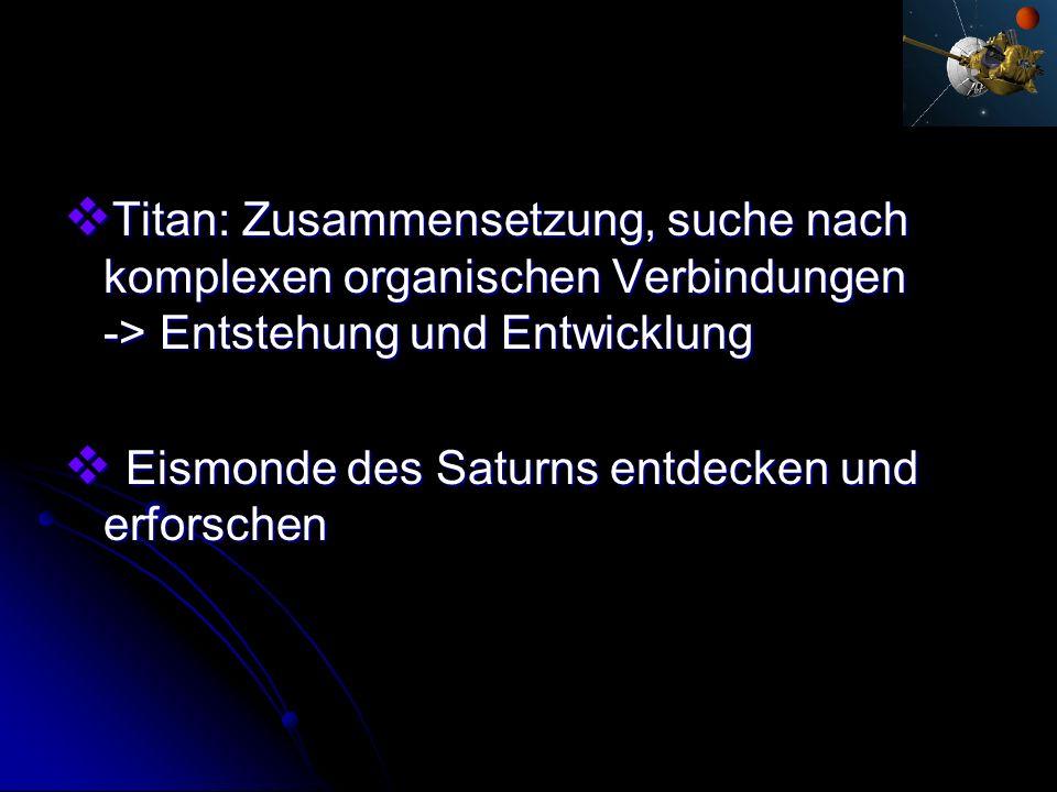 Titan: Zusammensetzung, suche nach komplexen organischen Verbindungen -> Entstehung und Entwicklung Titan: Zusammensetzung, suche nach komplexen organ