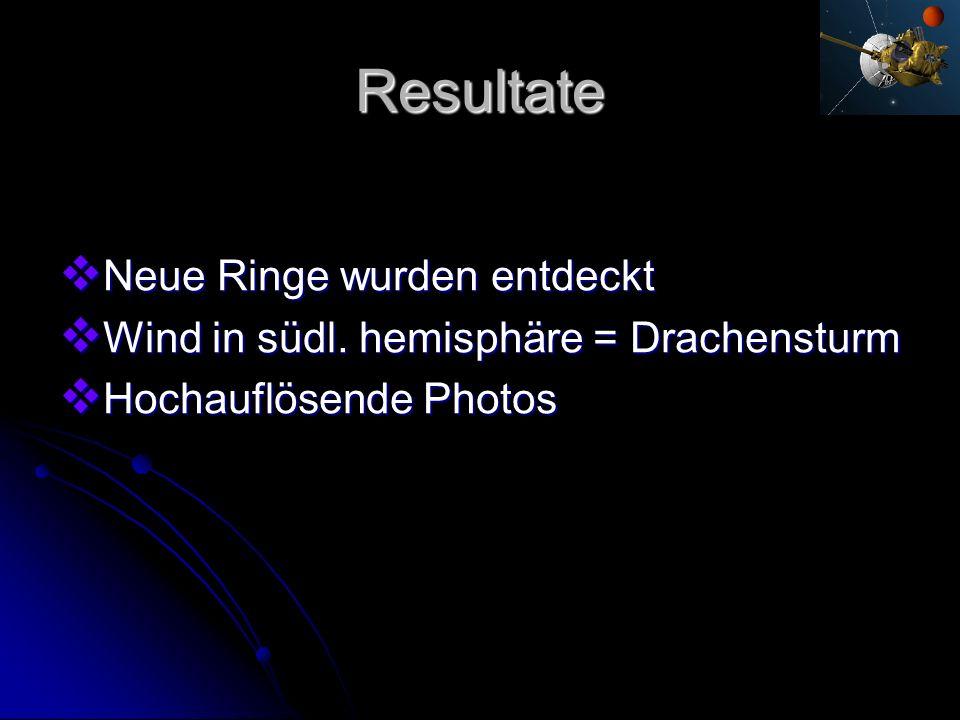 Resultate Neue Ringe wurden entdeckt Neue Ringe wurden entdeckt Wind in südl. hemisphäre = Drachensturm Wind in südl. hemisphäre = Drachensturm Hochau