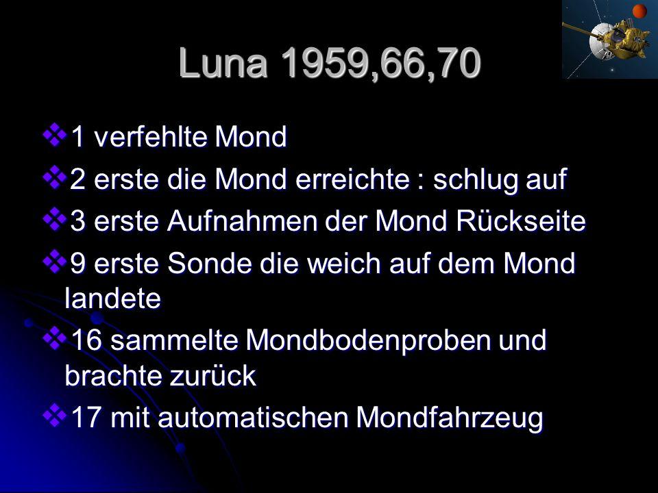 Luna 1959,66,70 1 verfehlte Mond 1 verfehlte Mond 2 erste die Mond erreichte : schlug auf 2 erste die Mond erreichte : schlug auf 3 erste Aufnahmen de