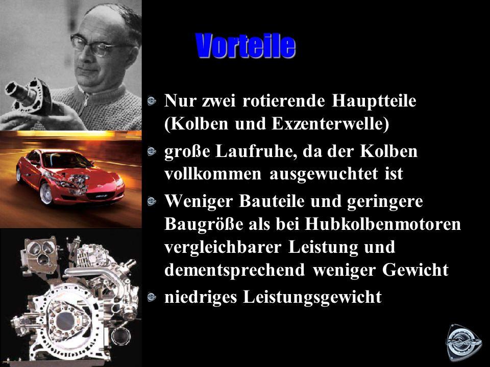 Der Wankelmotor in Betrieb Ansaugen Verdichten Zünden ArbeitenAusstoßen A u s l a s s k a n a l E i n l a s s k a n a l