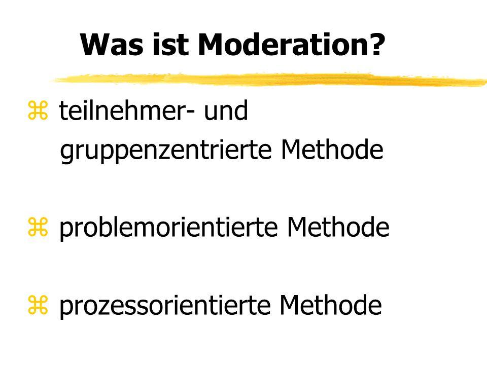 Moderationsmethode Die Moderationsmethode ist eine Mischung aus Planungs- und Visualisierungsverfahren sowie Regeln zur Gesprächsführung und Steuerung der Gruppendynamik.
