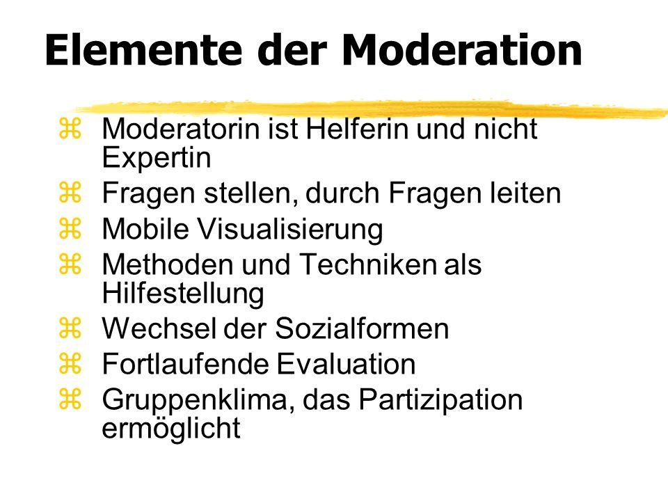 Elemente der Moderation Moderatorin ist Helferin und nicht Expertin Fragen stellen, durch Fragen leiten Mobile Visualisierung Methoden und Techniken a